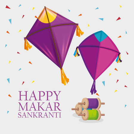 makar sankranti religion celebration with kites vector illustration Stock Illustratie
