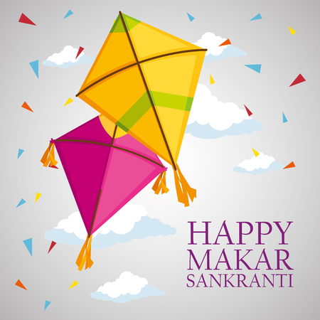 happy makar sankranti with kites to celebration ceremony vector illustration