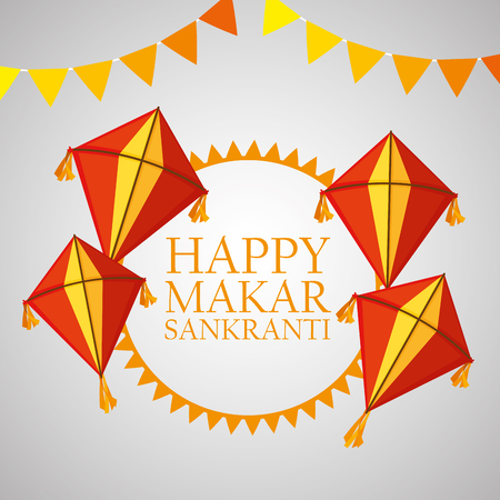 happy makar sankranti with party banner and kites vector illustration