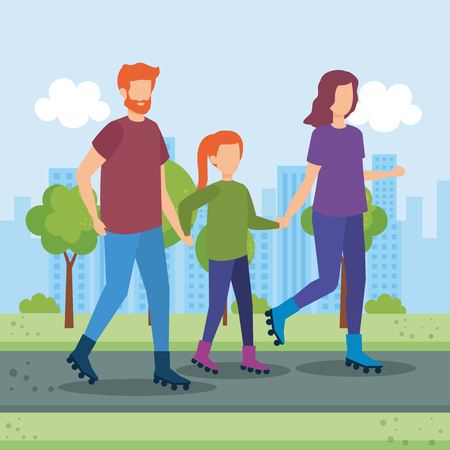 parents couple with daughter in the park vector illustration design Stock Vector - 112673215
