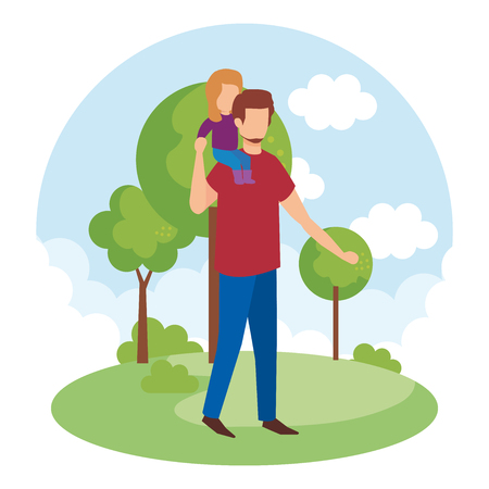 father with daughter in the park vector illustration design Illustration