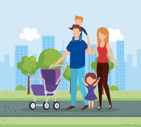 Couple de parents avec panier bébé caractères vector illustration design Vecteurs