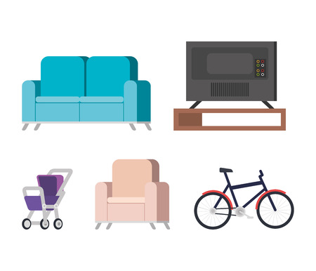 plasma tv back in livingroom and set icons vector illustration design Imagens - 127349111