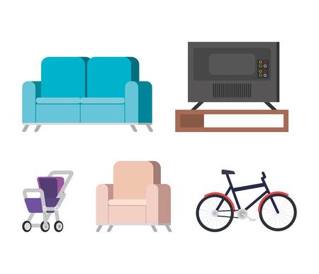 plasma tv back in livingroom and set icons vector illustration design