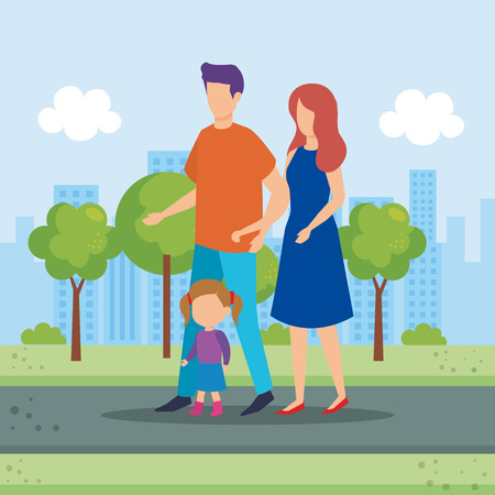 parents couple with daughter in the park vector illustration design Stock Vector - 112673720
