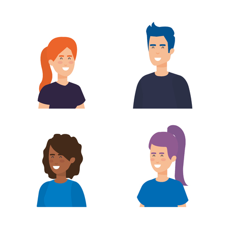 group of people characters vector illustration design