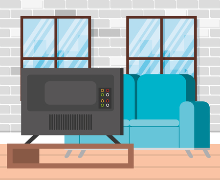 plasma tv back in livingroom vector illustration design 写真素材 - 112673851