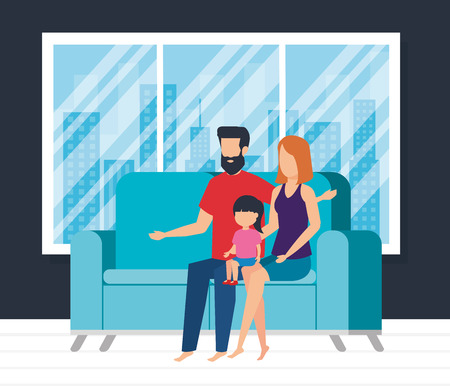 parents couple with daughter waching tv vector illustration design Ilustracja