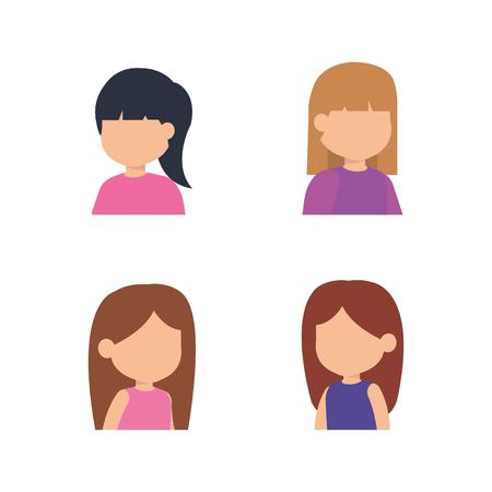 cute little girls group vector illustration design