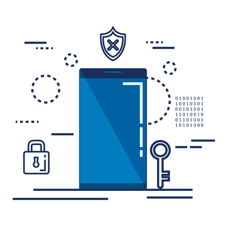 data center security with smartphone vector illustration design