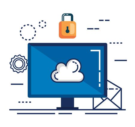 data center security with desktop vector illustration design