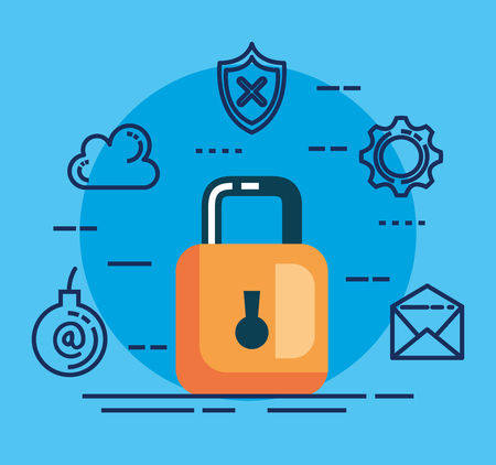 data center security with padlock vector illustration design