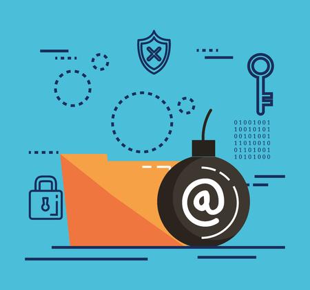 data center security with folder vector illustration design