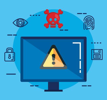 data center security with desktop vector illustration design Standard-Bild - 112673582