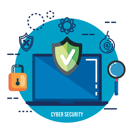 data center security with laptop vector illustration design
