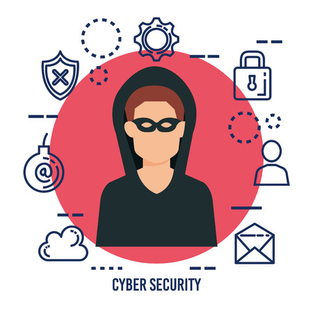 data center security with hacker vector illustration design