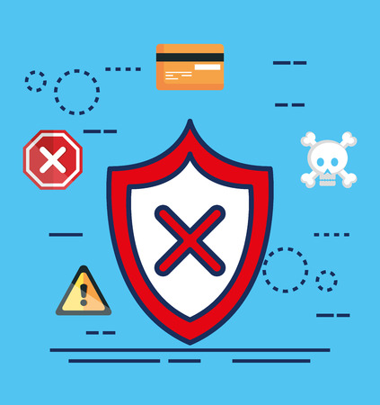 data center security with shield vector illustration design