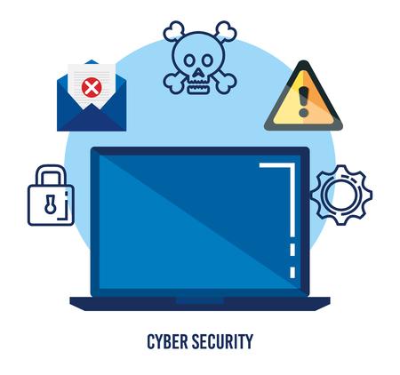 data center security with laptop vector illustration design Foto de archivo - 112677082