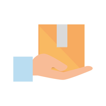 hand human with box carton delivery service vector illustration design