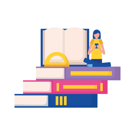 woman with mobile books education supplies school vector illustration vector illustration
