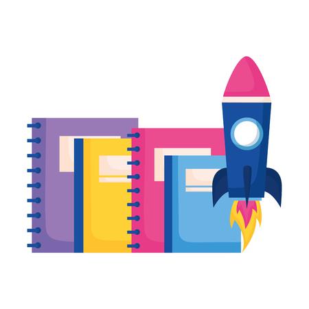 rocket books education supplies school vector illustration vector illustration