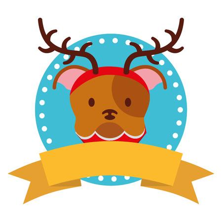 dog merry christmas ribbon label vector illustration Stock Vector - 127349414