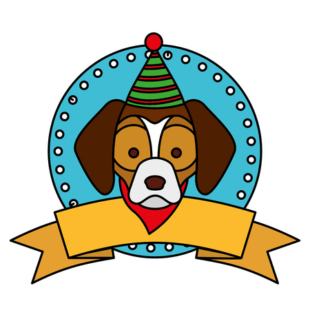 dog merry christmas ribbon label vector illustration