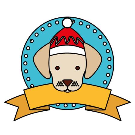 dog merry christmas ribbon label vector illustration Stock Vector - 112717092