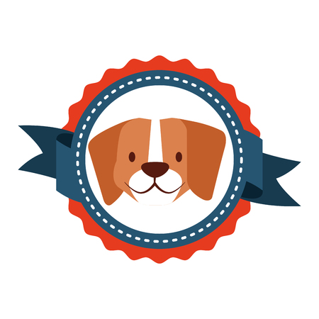pet dog emblem ribbon label vector illustration Illustration