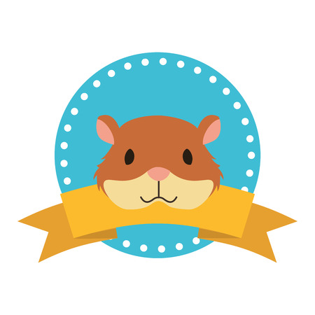 cute hamster animal label emblem vector illustration Illustration