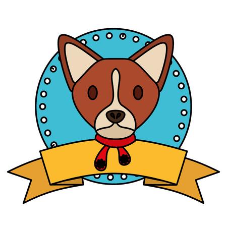 dog merry christmas ribbon label vector illustration Stock Vector - 127349443