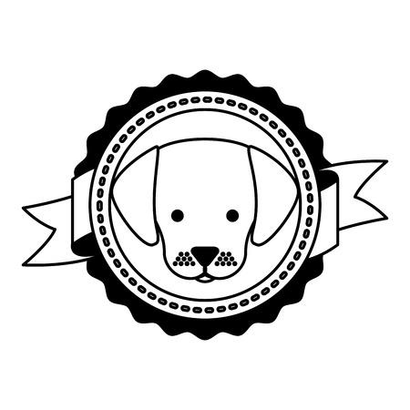 pet dog emblem ribbon label vector illustration Illustration