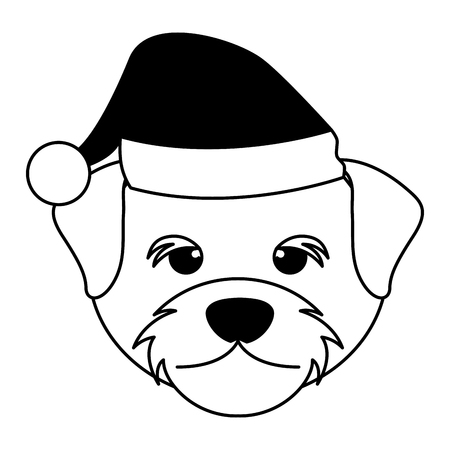 cute face dog with hat merry christmas vector illustration