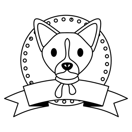 dog merry christmas ribbon label vector illustration Stock Vector - 112717095