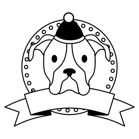dog merry christmas ribbon label vector illustration