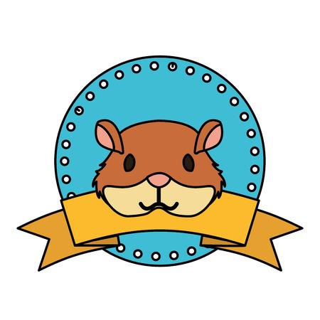 cute hamster animal label emblem vector illustration Illustration