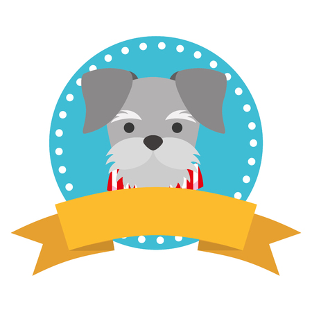 pet dog ribbon label emblem vector illustration Illustration