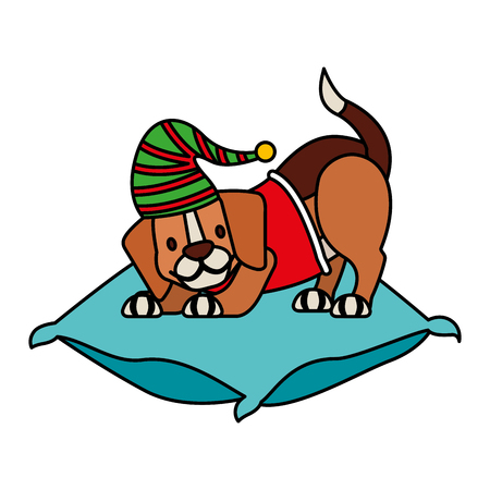 dog with hat on cushion merry christmas vector illustration vector illustration 向量圖像
