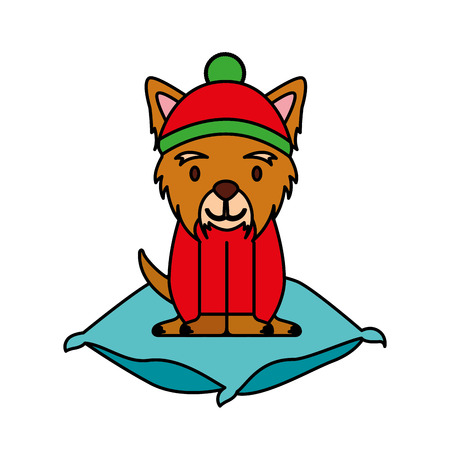 dog with hat on cushion merry christmas vector illustration vector illustration Çizim
