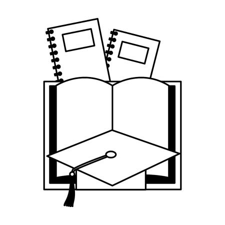 book graduation hat books education supplies school vector illustration
