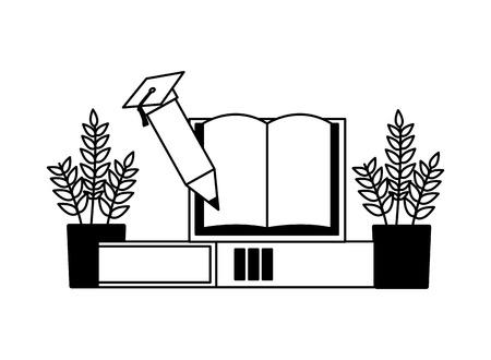 book pencil plants education supplies school vector illustration Ilustração