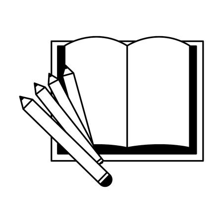 open book pencils education supplies school vector illustration Illustration