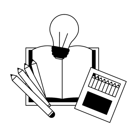book pencils bulb idea education supplies school vector illustration Ilustração