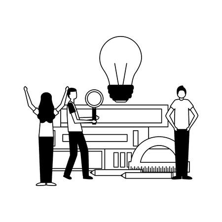 people books protractor idea education supplies school vector illustration Illustration