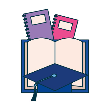 book graduation hat books education supplies school vector illustration