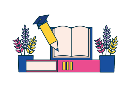 Crayon livre plantes fournitures scolaires illustration vectorielle de l'école