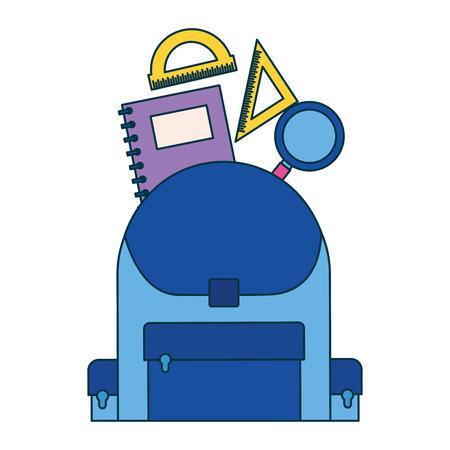 backpack notebook ruler education supplies school vector illustration Illustration