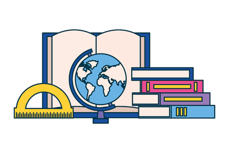 books globe and protractor education supplies school vector illustration Banco de Imagens - 127349525