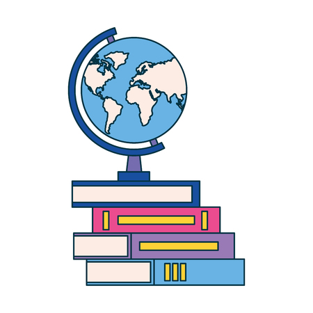 globe on books education supplies school vector illustration