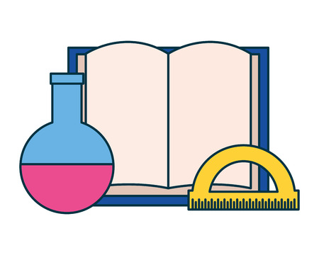 book test tube and protractor education supplies school vector illustration